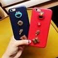 Cute PU Leather Cartoon Sesame Street phone case for iphone 6 6s 7 plus Ice cream chocolate graffiti Back cover couple