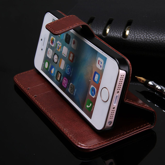 Wallet Leather Case for Apple iPhone 5S 5 3