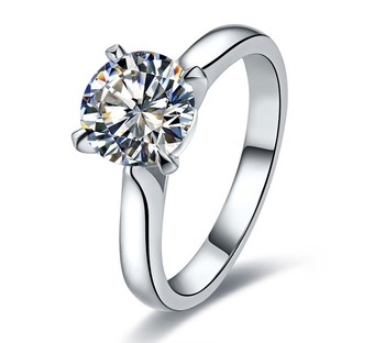 Classic Accents 4 Prongs 1Ct Round Cut Synthetic Diamant Solitaire Ring Genuine 925 Sterling Silver White Gold Color Jewelry