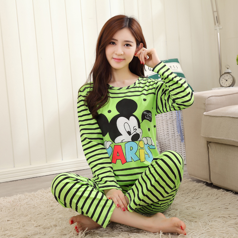 Spring Autumn 20 Style Thin Carton Generation Women Long Sleepwear Suit Home Women Gift Female Sleep Top Wholesale Pajamas