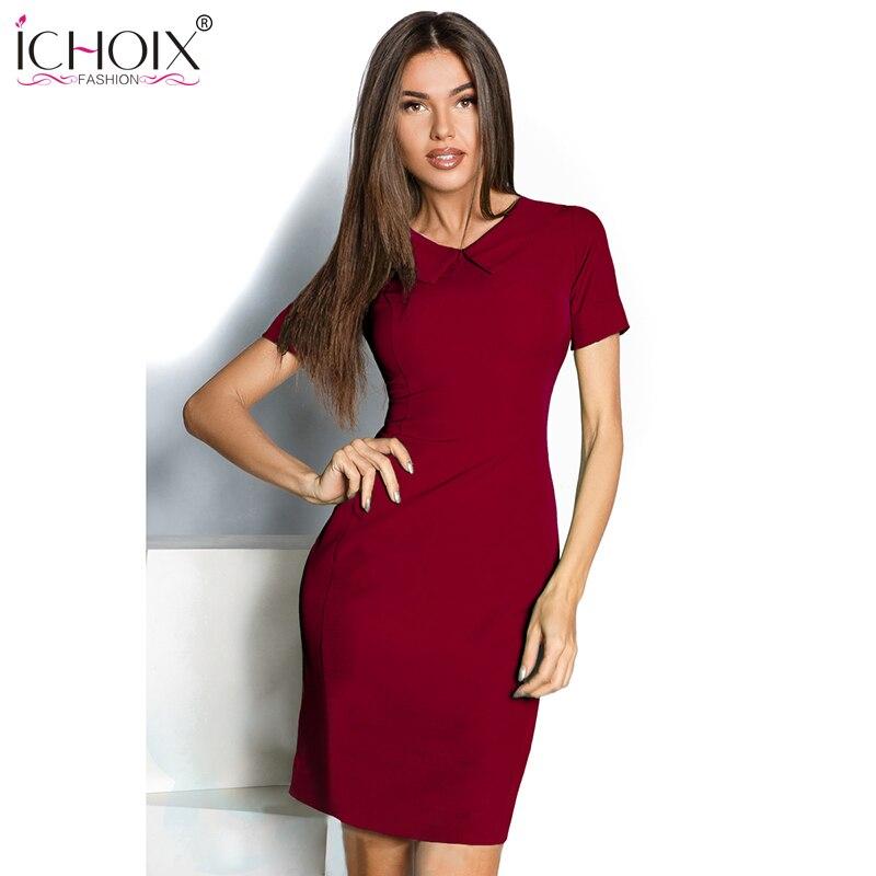 ICHOIX Casual 2019 Mujeres Vestidos de oficina de verano Mini Vestido - Ropa de mujer