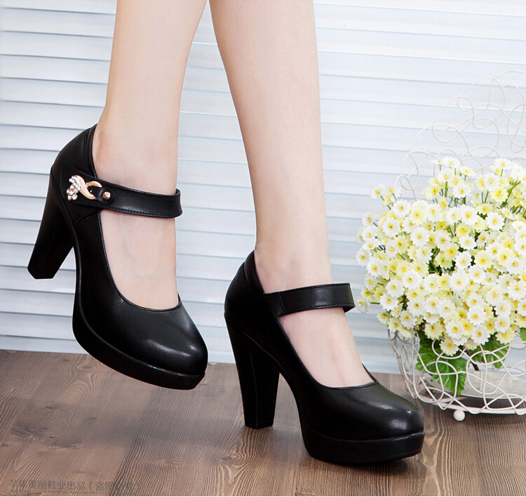 ФОТО 2017 women high heels pumps female OL  COMFORTABLE genuine leather black work shoes sy-772