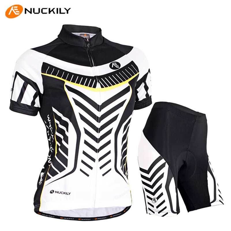 NUCKILY Cycling Jersey Women Short-sleeve Gel Padded Shorts Sport Clothing Pro Training Team MTB Riding Bike Bicycle Jersey Set