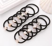 10PCS/Lot New Korean Hair Accessories For Women Black color Elastic Rubber Bands Girls Lovely Ropes Ponytail Holder