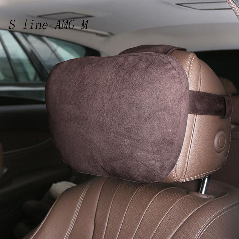 Car Styling Headrest S Class Maybach Ultra Soft Pillow Covers For Mercedes Benz C E Class W205 W213 GLC X253 Auto Accessories