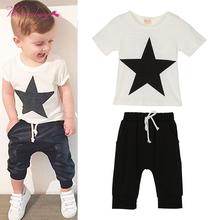 WEIXINBUY New Summer Baby Boys Girls Cotton Clothing Set Short Sleeve Printed T-Shirt+Pants 2PCS L07