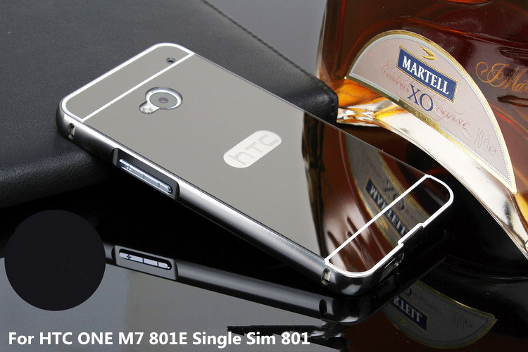 Plating Metal Mirror Aluminum Bumper PC Acrylic 2 in 1 Case For HTC One M7 801E