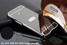 Espelho do chapeamento de Metal de Alumínio Bumper PC + Acrílico 2 em 1 Caso Para HTC One M7 801E Único Sim 801 4.7 polegada Capa Fundas Capa para