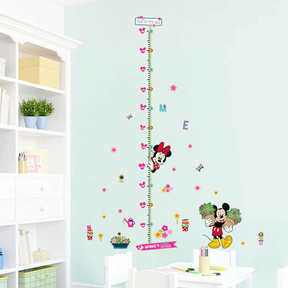 การ์ตูน Disney Minnie Mickey PVC สติ๊กเกอร์ติดผนังสำหรับห้องพักเด็กดอกไม้ความสูงวัด Decor Mural Wall Art Home decals