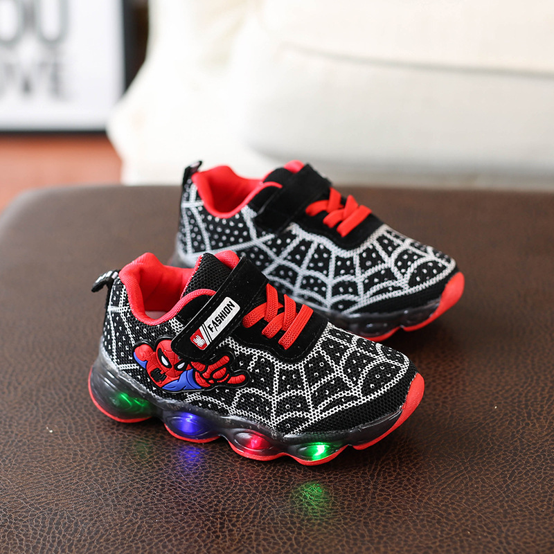 Fashion Mesh Sneakers Led Lighte Shoes Cute Cool Spiderman Casual Sport Sneakers Infant Tennis Baby Girls Boys Shoes A749