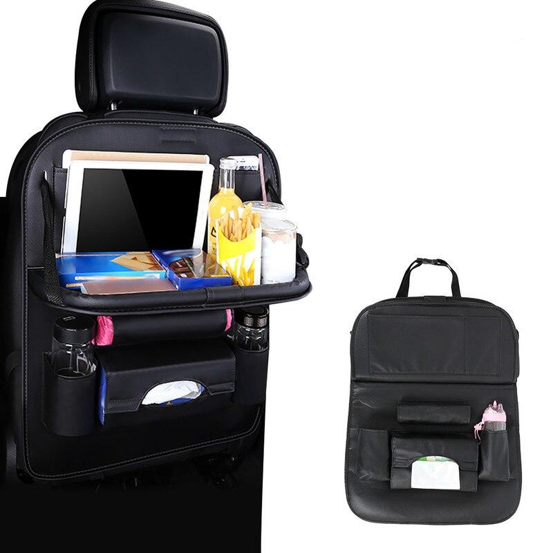 Preto Assento de carro de Volta Saco Organizador de Mesa Dobrável Almofada Cadeira Bebida Bolso De Armazenamento Caixa de Viagem Estiva Tidying Acessórios Para Automóveis