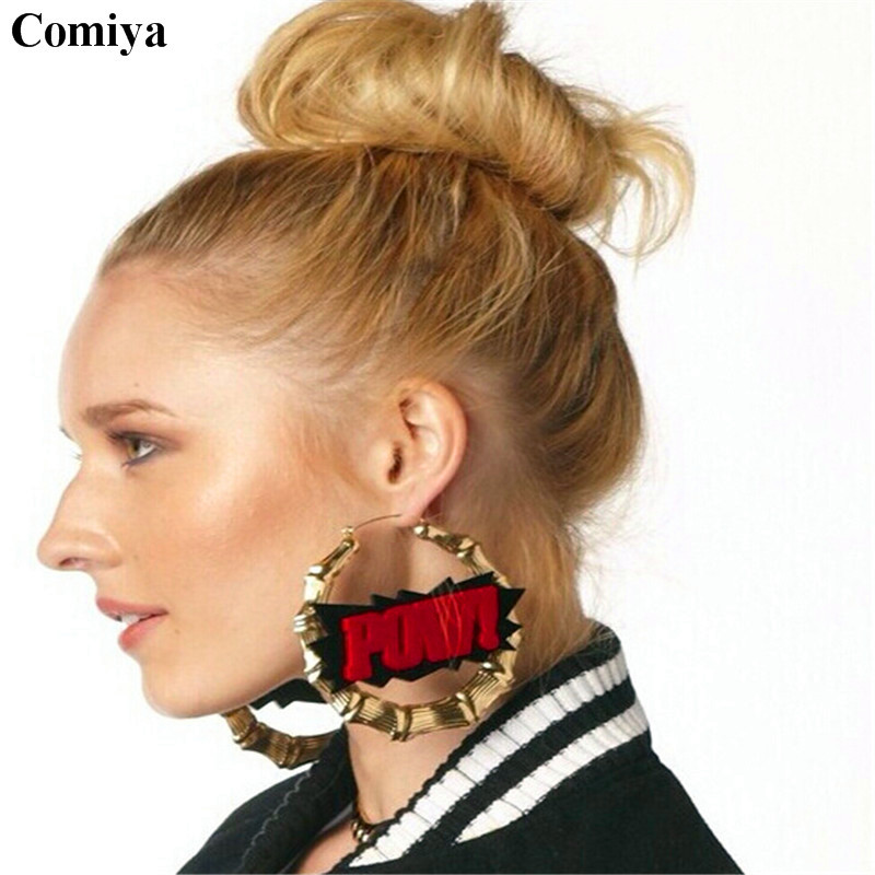 Big Round Chunky Gold Statement Red Letters Drop Earring -3829