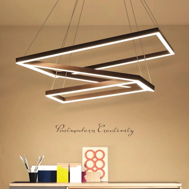 Moderno Industrial negro LED colgante luz Rectangular Circular lámpara sala de estar Oficina cuadrado anillo suspensión grande colgante