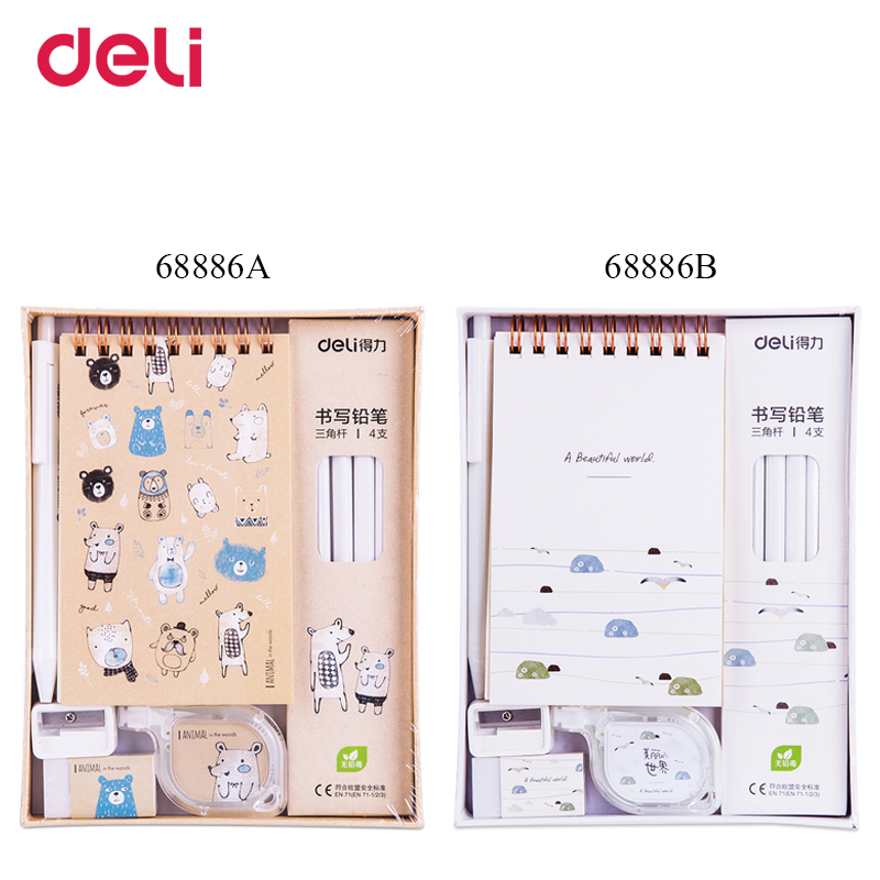 Deli quality cute school kid stationery writing set A6 spiral notebook gel pen pencil correction tape eraser mini sharpener gift children stationery set includes pencil case sharpener drawing pen chess scissors students stationery set as a gift for kids