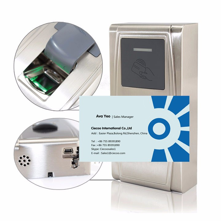 IP65 waterproof outdoor use fingerprint and RFID card access control time attendance  MA300 with mini power supply rfid key tags