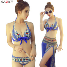 купить XARKE 3 Pieces Bathing Suit Sexy Push Up Bikini Set Womens Swimsuit With Cover Ups Swimming Dress Skirt Bikini Halter Swimwear дешево