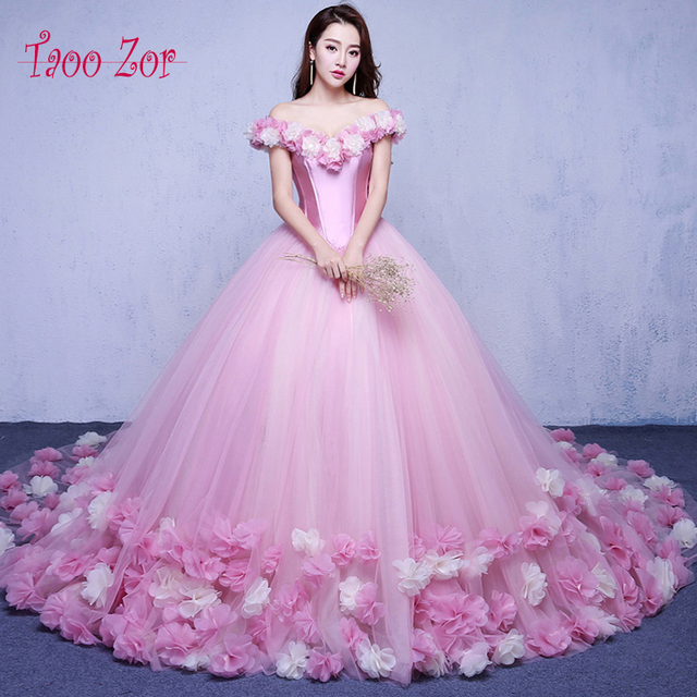 Anime Ball Gown White With Red Roses: Taoo Zor 2017 Pink Cloud Flower Rose Ball Gown Wedding