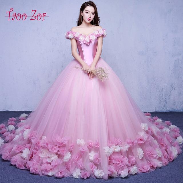 Taoo Zor 2017 Pink Cloud Flower Rose Ball Gown Wedding Dresses 2017 ...