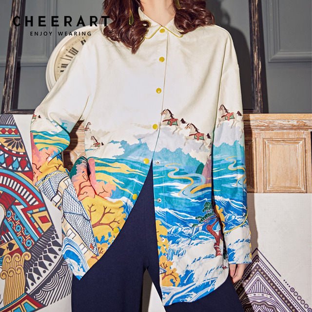 0a3e38553082ec Cheerart Vintage Corduroy Chinese Blouse Women Print Button Up Shirt Long  Sleeve Loose Top Spring 2019 Clothing