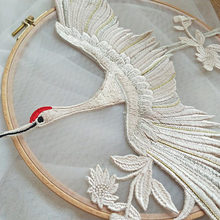 цена на 2 pc Crane Embroidered Lace Applique with Metallic Gold Champagne Thread for Wedding , Costumes, Ballet