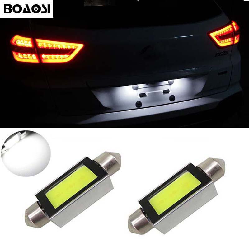 BOAOSI 2x <font><b>LED</b></font> 36mm Canbus C5W <font><b>Bulbs</b></font> COB <font><b>Interior</b></font> Lights License Plate Light For <font><b>BMW</b></font> E36 E39 E46 E90 E91 E92 E53 <font><b>E60</b></font> E65 E71 image