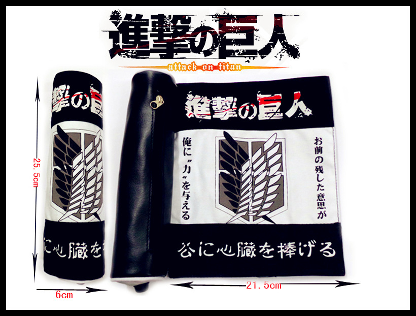 9.8/25cm Canvas+PU Scroll Bag With Anime Attack on Titan Rivaille scouting corps wings of liberty mark 4you рюкзак flow