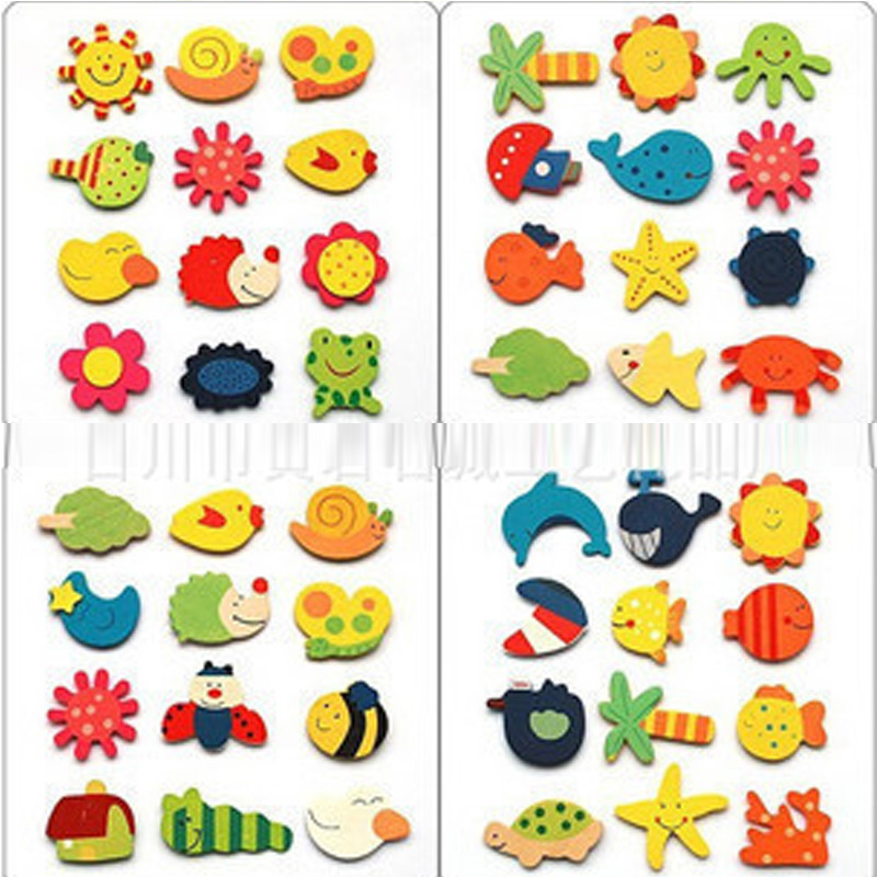 12pcs/lot Wooden Magnet Fridge Stickers Puzzles Colorful Kawaii Cartoon Animal Toys For Children Baby Learning Education Toys