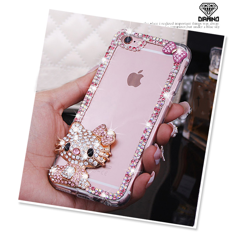3D Bling Rhinestone Bow Cat Hello Kitty Back Phone Case for Samsung S9 S8 S7 S6 Edge Note 4 5 8