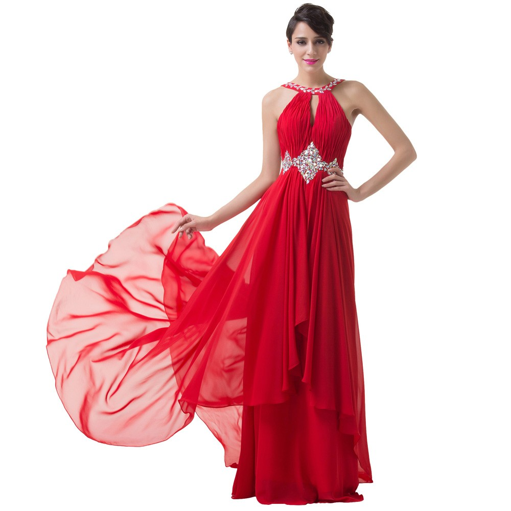 Grace Karin Long Red Evening Dresses 2018 Backless Beaded Chiffon Floor Length Elegant Formal Gowns Prom Sexy Party Dresses 6