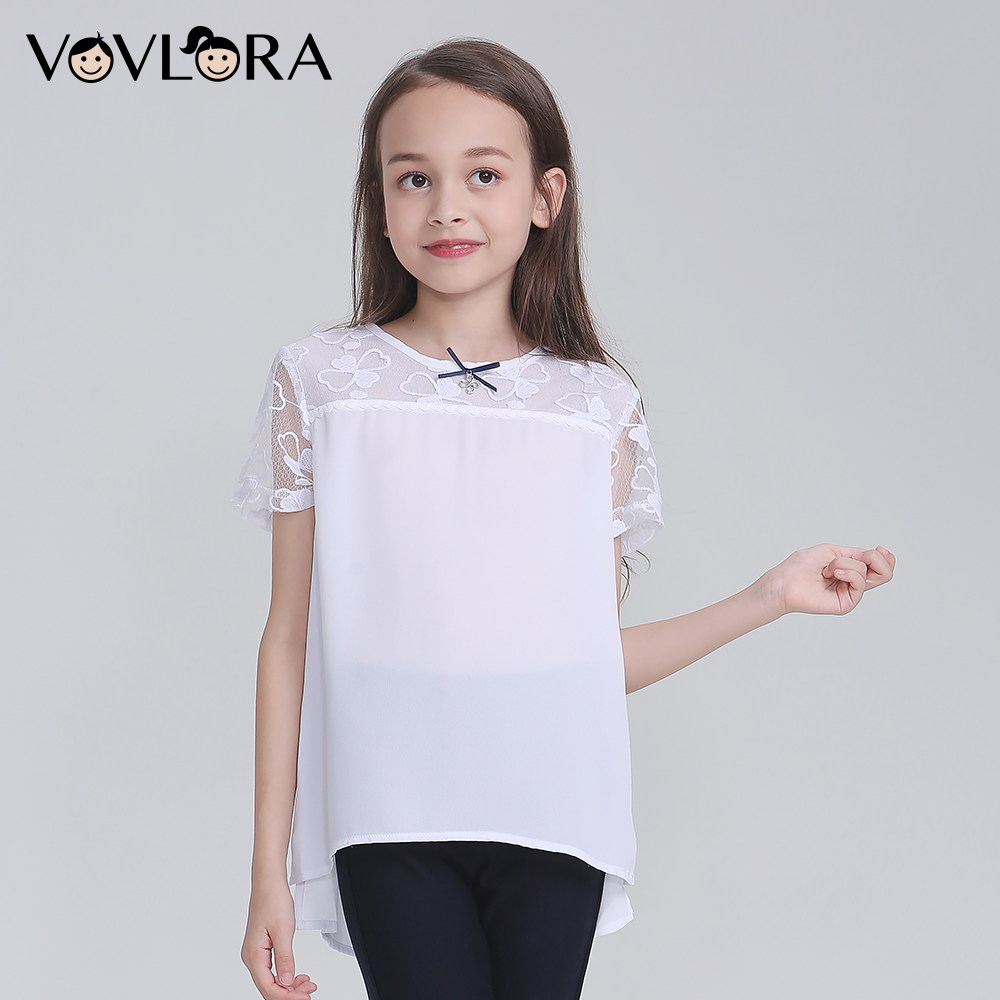 School Girls Blouses Chiffon White Kids Blouse Short Sleeves Tops 2018 News Children Clothes Casual Size 9 10 11 12 13 14 Years women s sweet keyhole neck short sleeves lace up chiffon blouse