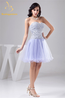 Bealegantom, сексуальное мини платье с кристаллами, а силуэт, платье для выпускного вечера, 2018 с бисером и блестками, Тюлевое платье для выпускног