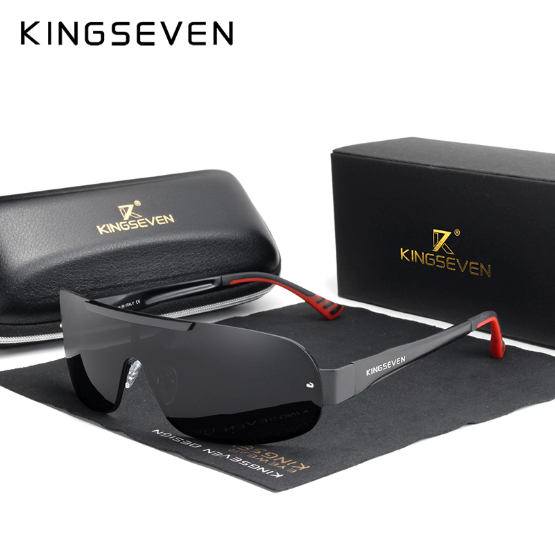 KINGSEVEN Design New Aluminum Men Brand Sunglasses HD Polarized Men's Sun Glasses Integrated Lens Eyewear Goggle Gafas De Sol