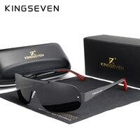 KINGSEVEN дизайн Новые Алюминиевые солнцезащитные Брендовые мужские очки HD поляризованные мужские солнцезащитные очки интегрированные линзы ...
