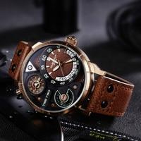 EYKI Men Watches Big Dial Dual Time Zone Leather Quartz Watch Male Military Sports Waterproof Luminous Clock Relogio Masculino