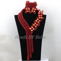 Luxury Flowers African Costume Jewelry Sets Burgundy Wine Crystal Nigerian Wedding Beads Statement Necklace Free Shipping ABK585