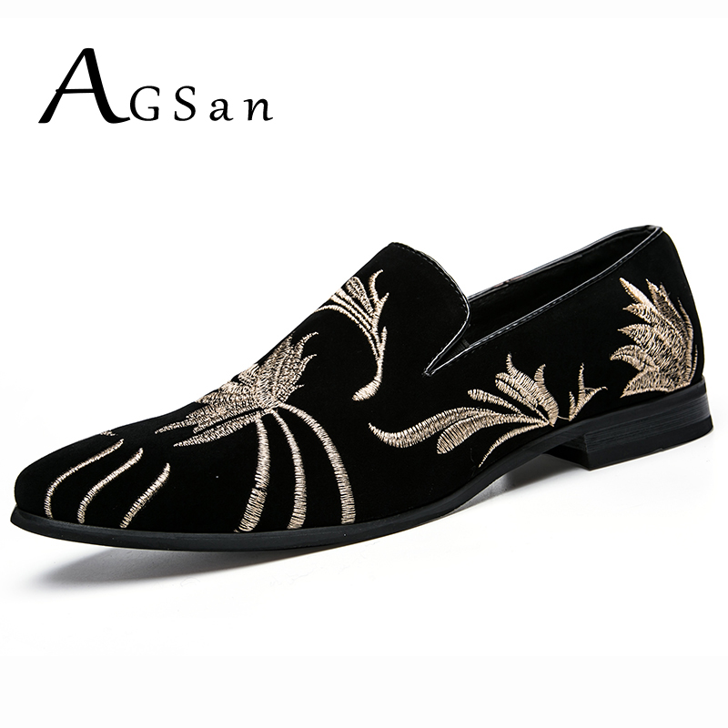 AGSan Embroidered Loafers Men Velvet Shoes Black Designer Mens Smoking Slippers Male Wedding and Party Loafers Dress Shoes 2017 handsome smoking slipper in black silk with a refined velvet band detail party and wedding men loafers male dress shoes
