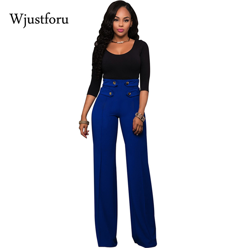 Wjustforu Stretch   Wide     Leg     Pants   Women Elastic Button Palazzo Long Casual   Pants   Female Bottom High Waist Full Length Trousers