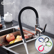 Gisha brass kitchen faucet 360 Degree Rotation kitchen sink black Tap Single Hole Handle deck mounted Tap Mixer faucet G2014 deck mounted nickle brushed brass kitchen faucet pull out sprayer vessel bar sink faucet single handle hole mixer tap