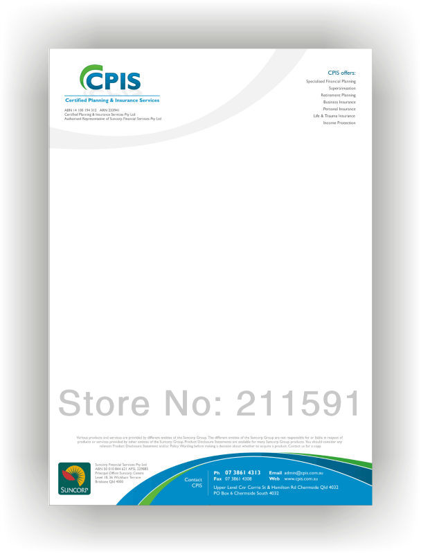 Help with paper letterhead