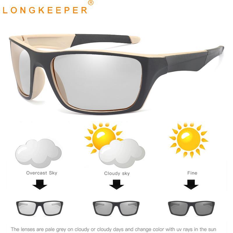 LongKeeper New Driving Photochromic Sunglasses Men Chameleon Discoloration Glasses Polarized Sun glasses Goggles UV400 gafas