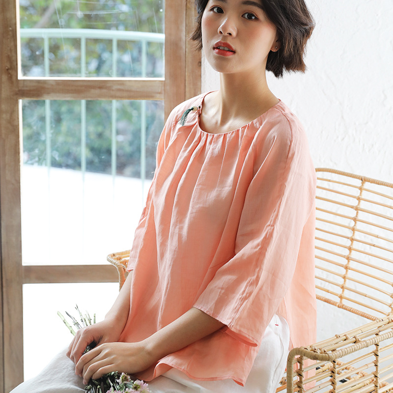 Coton lin femmes Design Original femmes d'été Ramie lâche mince Blouse Style chinois Blouse T-shirt