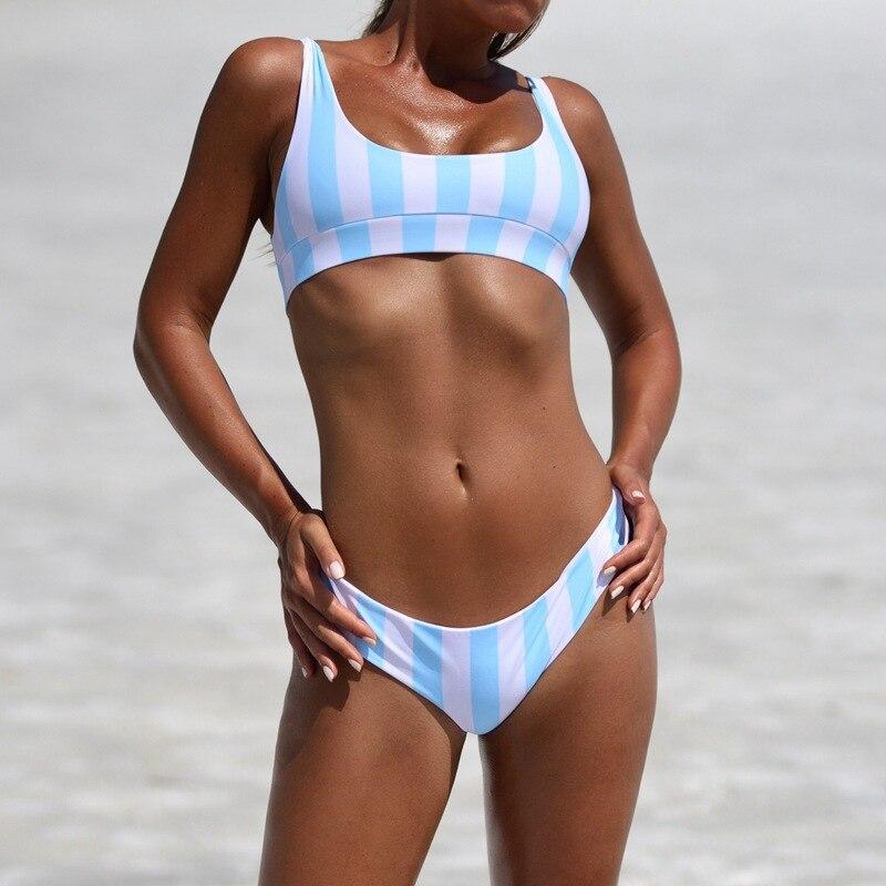 buy ycdyz bikini tanga striped women bandeau swimsuit bandage swimwear crop. Black Bedroom Furniture Sets. Home Design Ideas