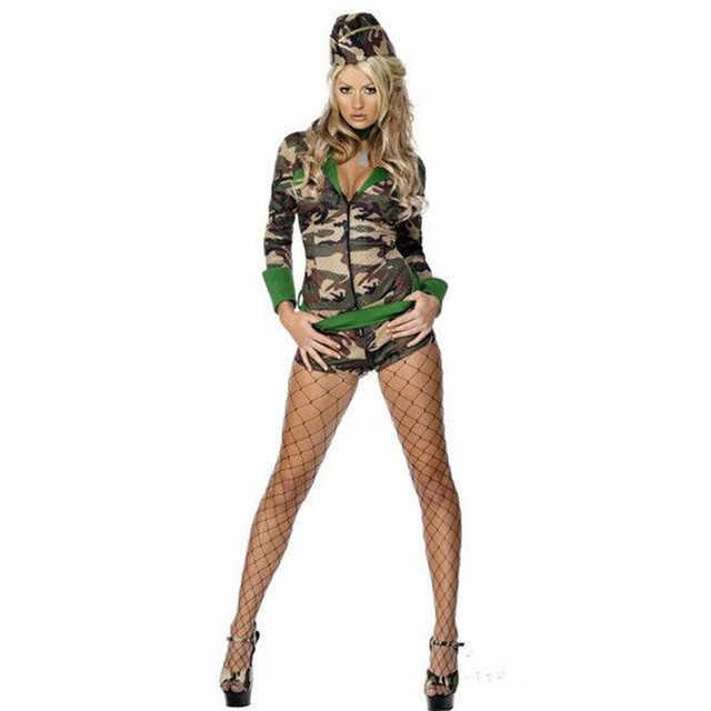 Модные Соблазнительные взрослые Для женщин армейский костюм на Хеллоуин Костюмы для ролевых игр, вечеринок солдат Для женщин Камуфляж Цвет боди + шляпа