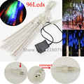 20 cm 96 Leds LED lluvia de Meteoros Lluvia Tubos de Navidad Wedding Party Light Jardín conectable Cadena de Luces de Vacaciones Al Aire Libre 110-230 V