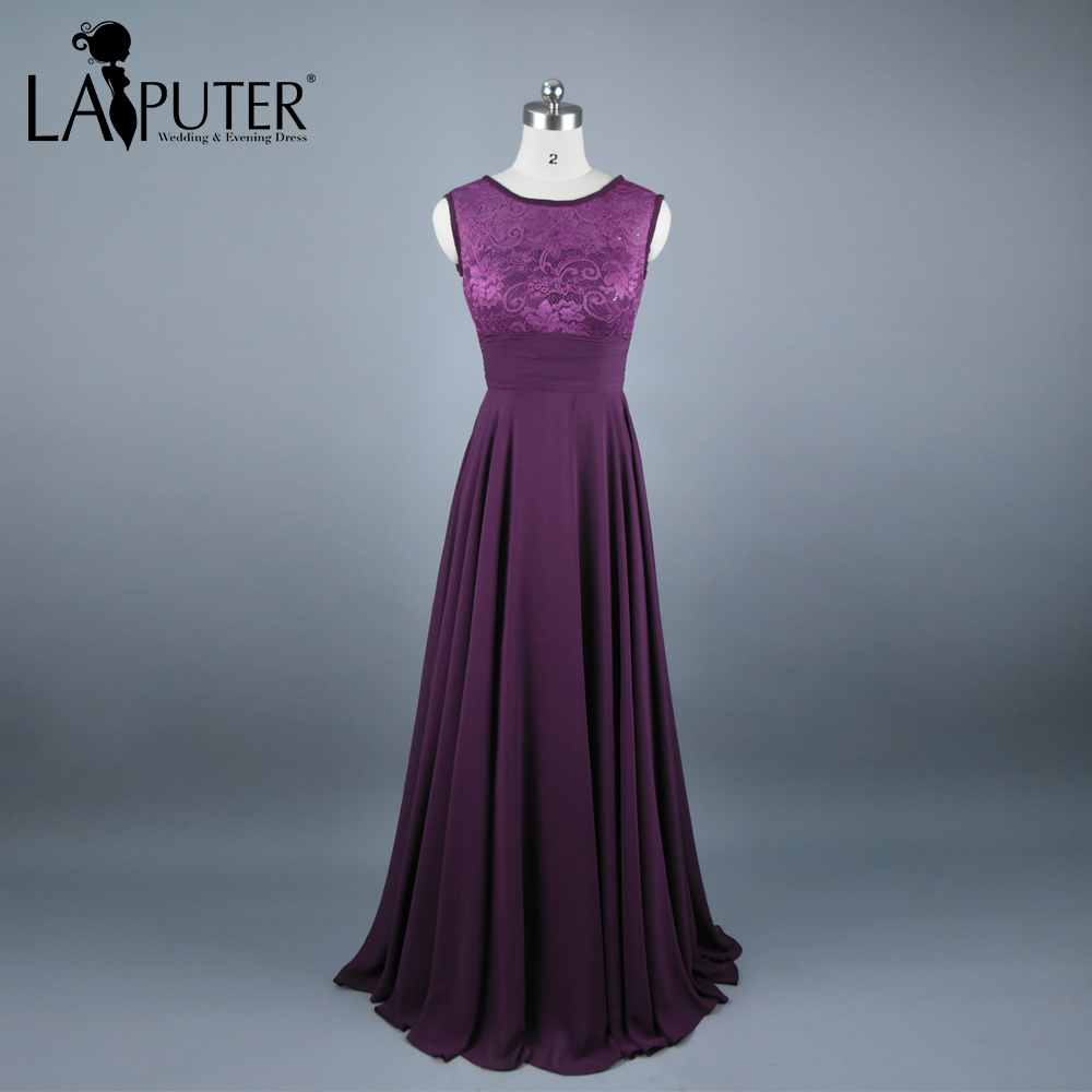 Online get cheap purple bridesmaid dresses photos aliexpress real photos a line o neck chiffon dark purple bridesmaid dresses long 2017 zipper back floor length lace bride of honor dress ombrellifo Image collections