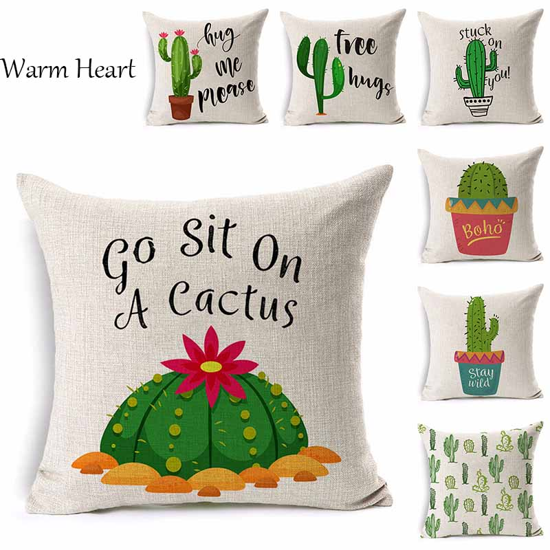 Green Cactus Cushion Cover Plant Pattern Pillow Case Linen Cotton Decorative For Home Hotel Office 45*45 CM Throw Pillow Cover