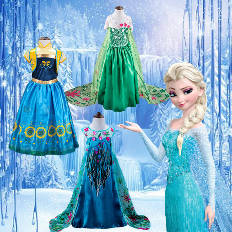 цена 2018 Girls Carnival Princess Costume Children Cartoon Anna Elsa Fairy Cosplay Dresses for Girl Fancy Party Dress Kids Clothes