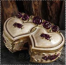 Сердце форма металлическая шкатулка ящик для хранения ювелирных изделий коробка кольца ювелирные изделия организатор joyero organizadorgift коробки для jewelly Z035