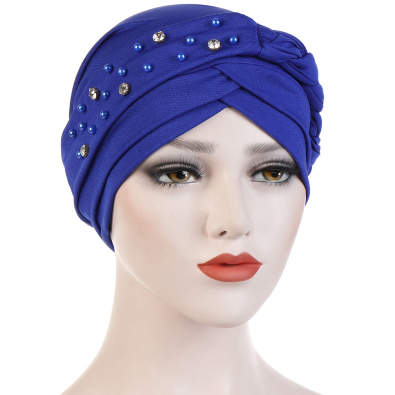 HT2323 Women India Hat Muslim Braided   Beanie   Scarf Turban Warm Beads Wrap Cap 2019 New   Skullies     Beanie   Skull Caps Hats for Women