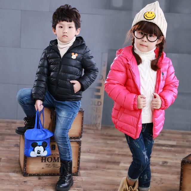 Para baixo Casacos de Inverno Meninos Meninas Roupas de Bebê Com Capuz Casaco jaqueta de Manga Longa Ternos de Natal Crianças À Prova de Vento Quente Ao Ar Livre